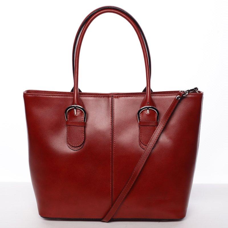 Kožená dámská kabelka do ruky, vínově červená