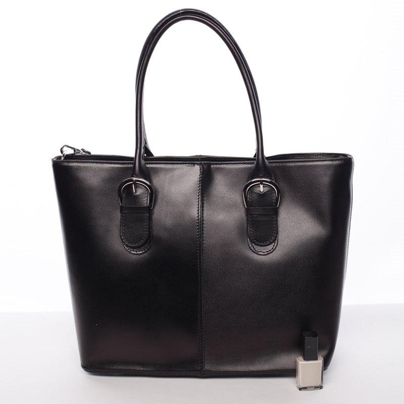 Kožená dámská kabelka do ruky, černá