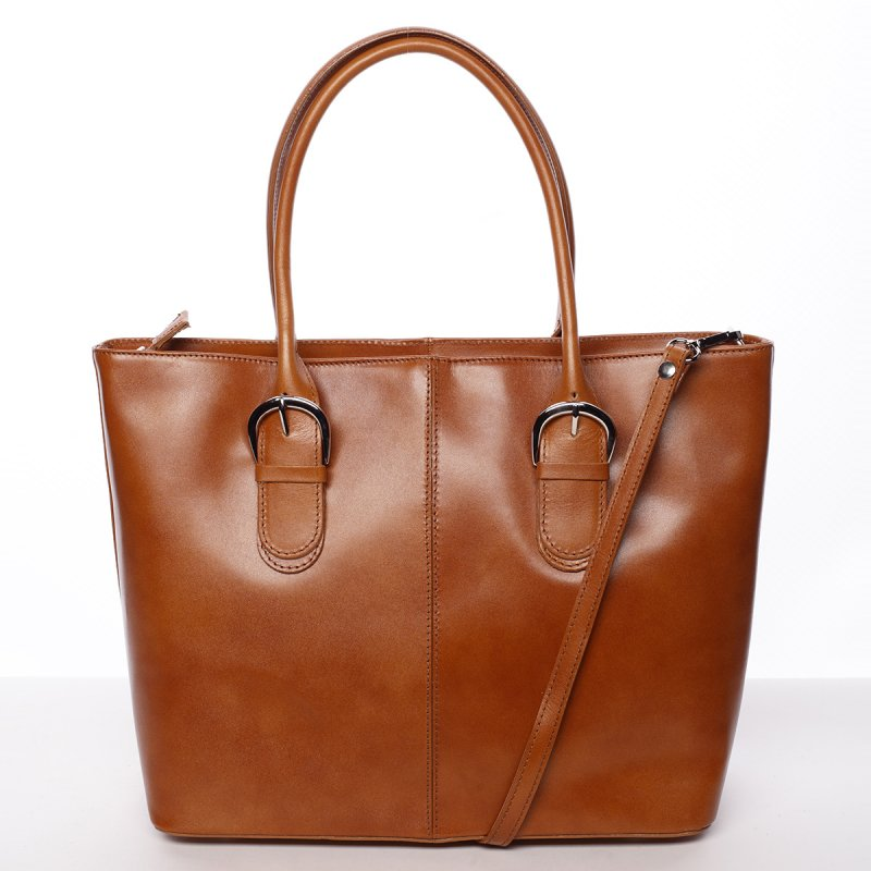 Kožená dámská kabelka do ruky, hnědá