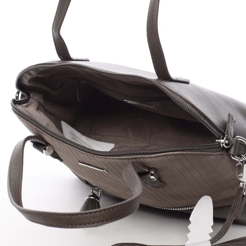 Semišová dámská kabelka Adelaide, hnědá/krémová