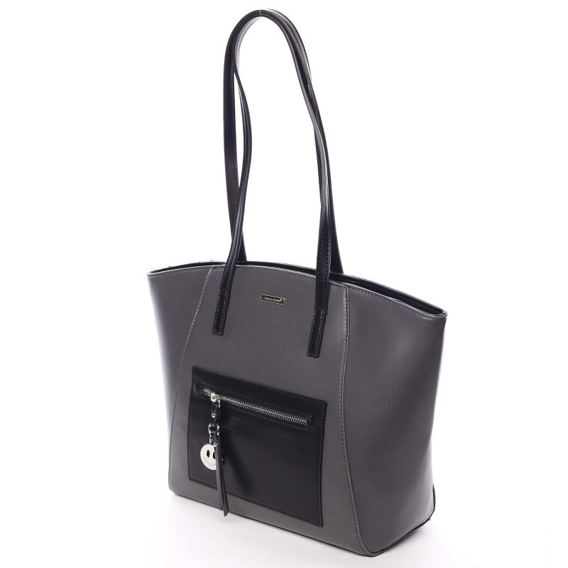 Luxusní kabelka s dlouhým uchem Aurelie, šedá