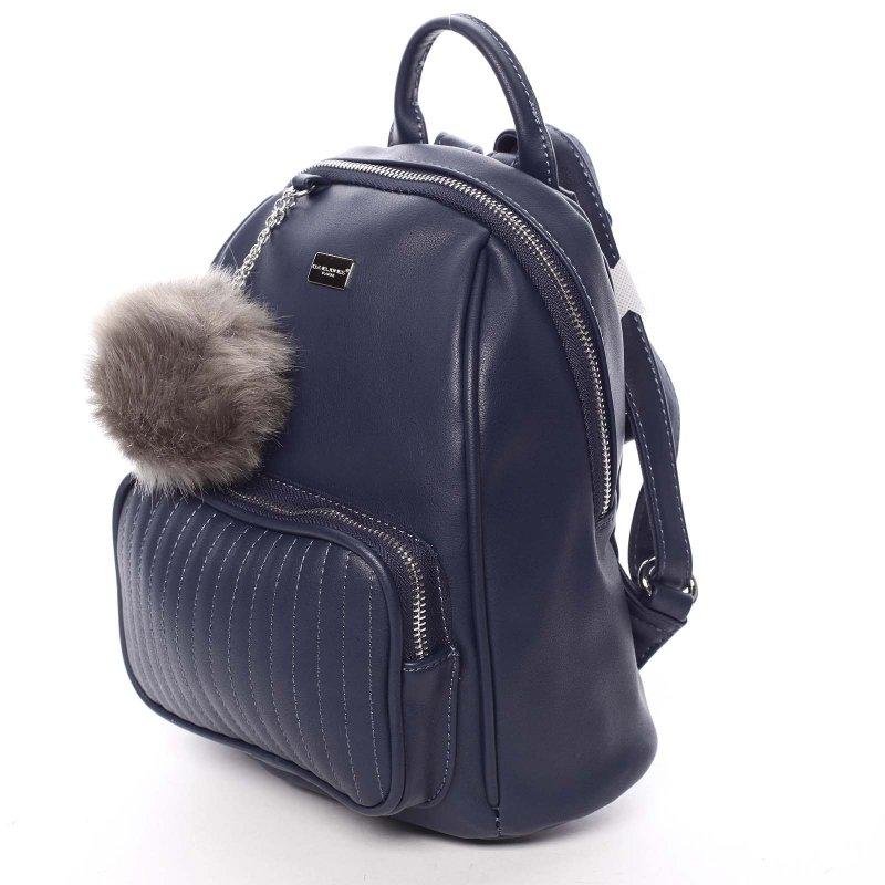 Moderní dámský batůžek s přívěskem Klarin, modrý