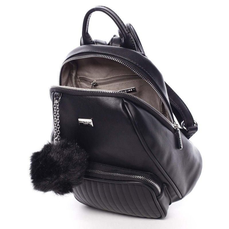 Moderní dámský batůžek s přívěskem Klarin, černý