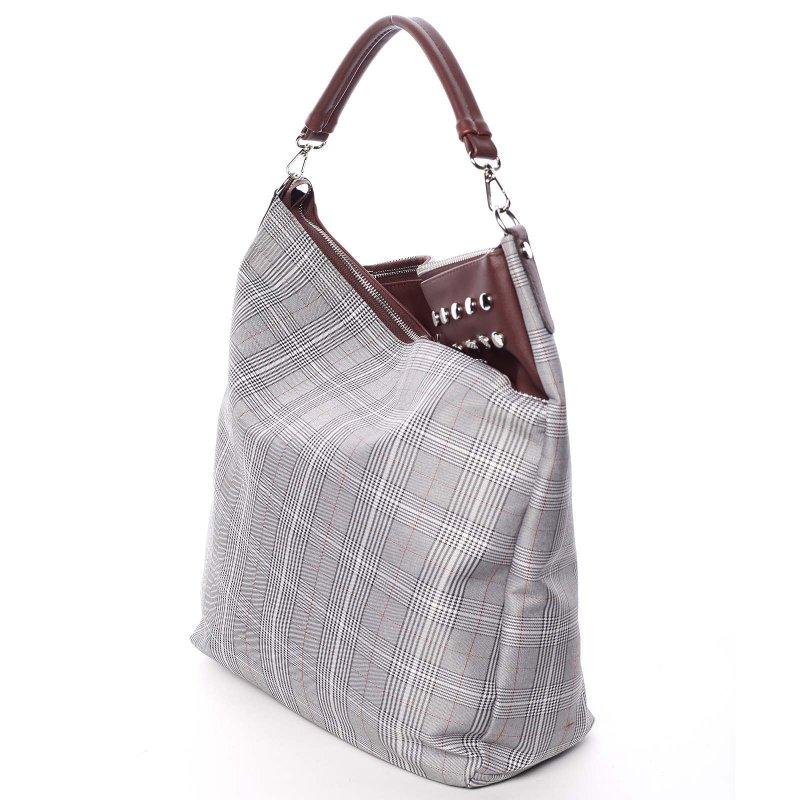 Látková dámská kabelka do ruky Fatima, šedá/ vínová