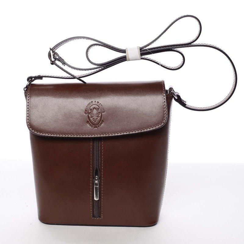 Luxusní kožená kabelka Leandra, světle hnědá