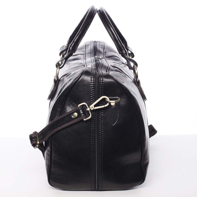 Kožená, velká cestovní taška Alva, černá