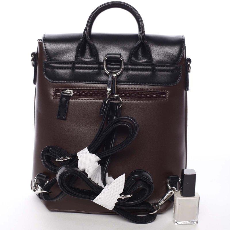 Luxusní dámský batůžek či crossbody Brenda, vínový/černý