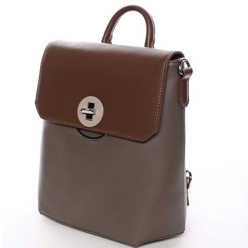 Luxusní dámský batůžek či crossbody Brenda, krémový/hnědý