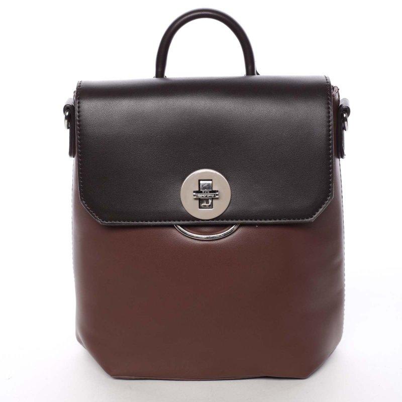 Luxusní dámský batůžek či crossbody Brenda, vínový/hnědý