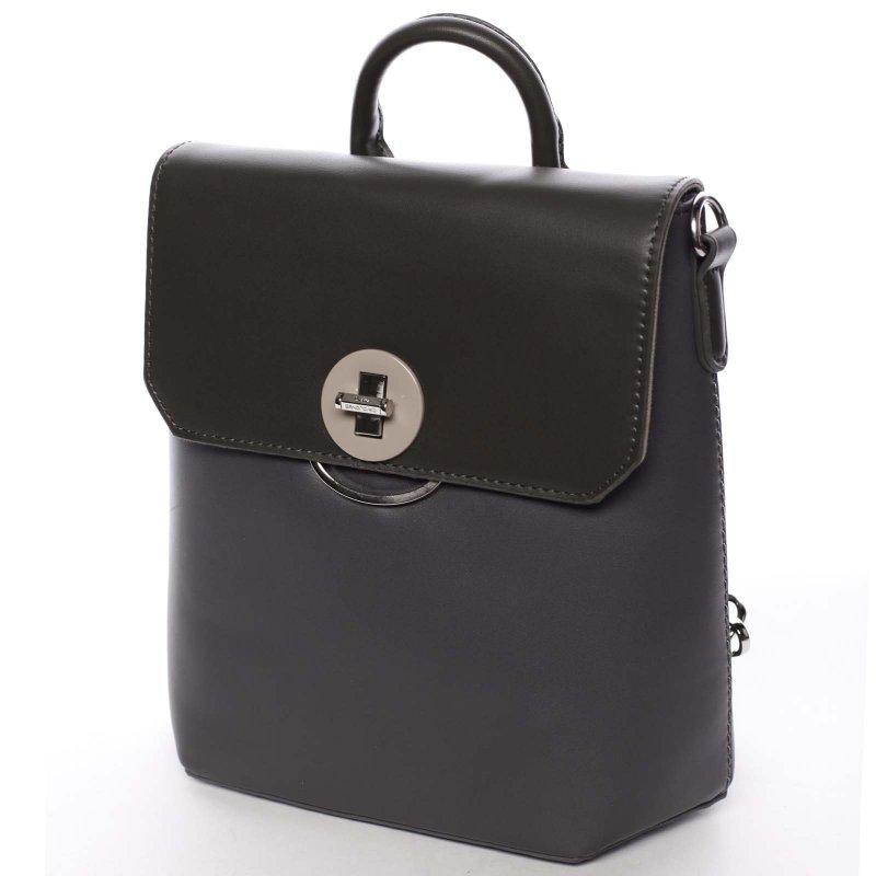 Luxusní dámský batůžek či crossbody Brenda, šedý/ tmavě fialový