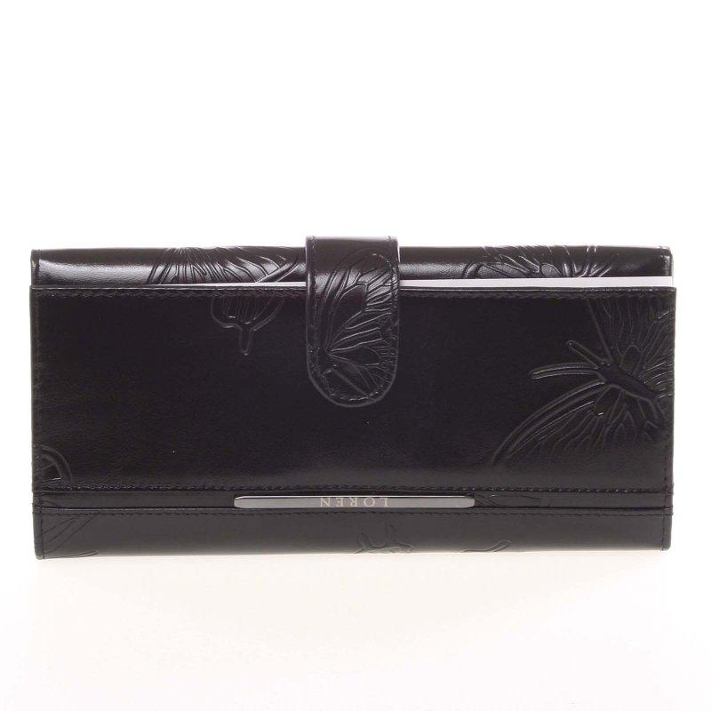 Kožená dámská peněženka Belinda, motýl černá