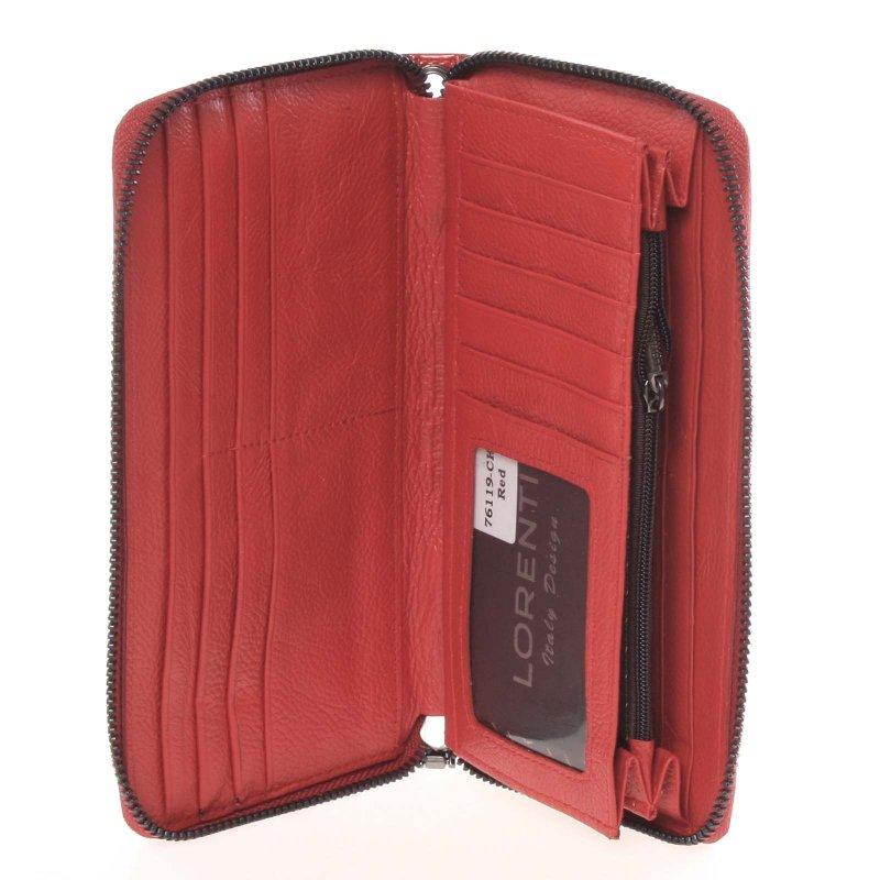 Kožená dámská peněženka Fátima, motýl červená