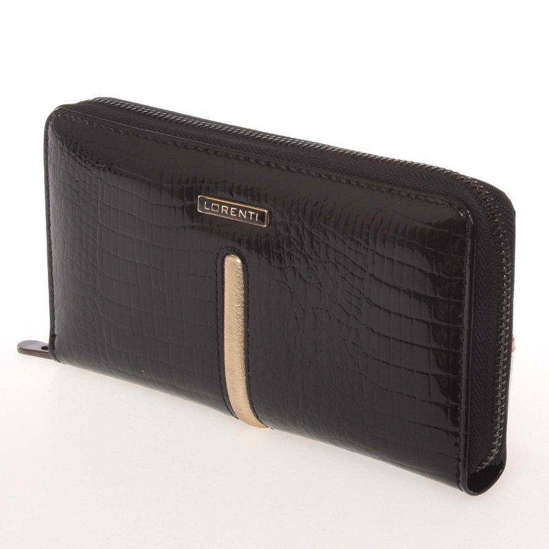 Lakovaná dámská kožená peněženka Gold Ore, černá