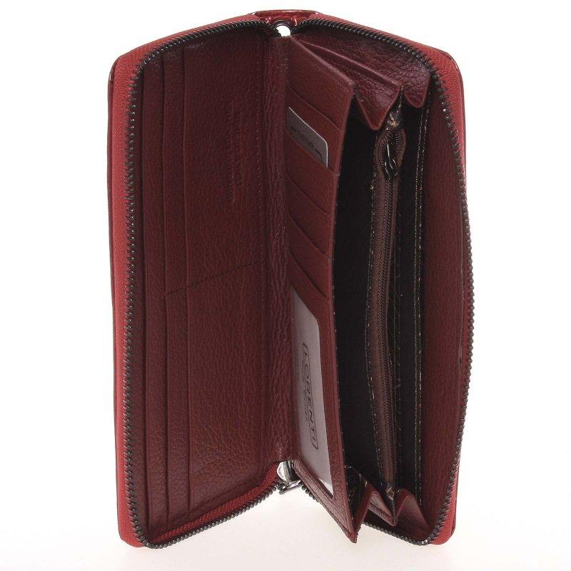 Kožená peněžnka s krokodýlím vzorem Loren S, červená