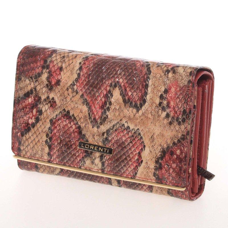 Lesklá dámská peněženka s hadím vzorem Ponty, červená