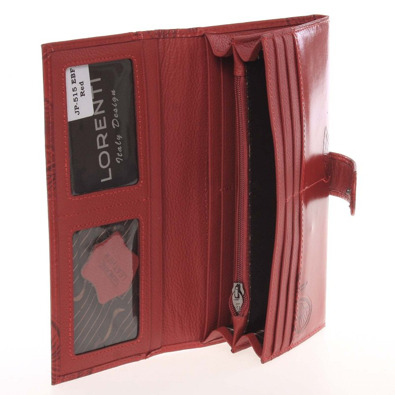 Kožená dámská peněženka Belinda, motýl červená