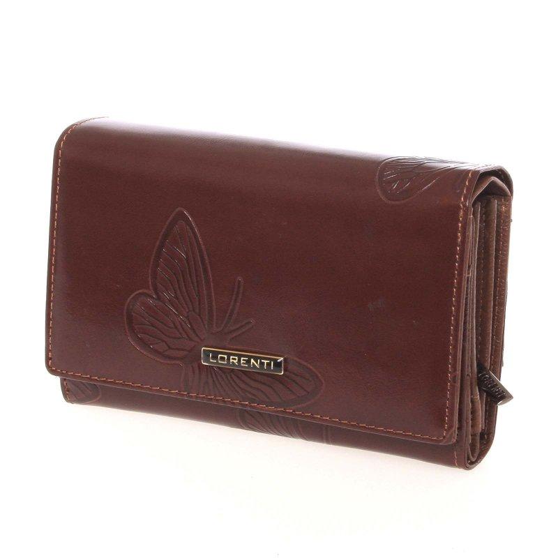 Kožená hnědá peněženka s motýlím vzorem - Lorenti