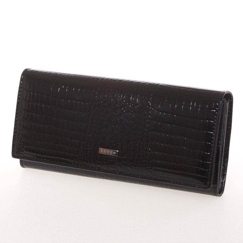 kožená lakovaná dámská peněženka černá Ana