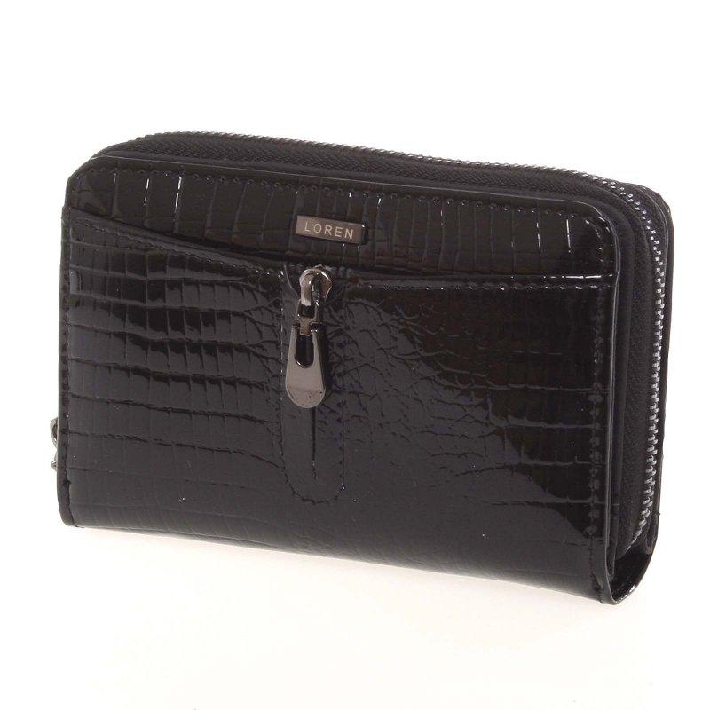 Černá croco kožená dámská peněženka Karol