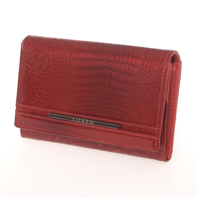 Kožená dámská peněženka Supar, croco červená