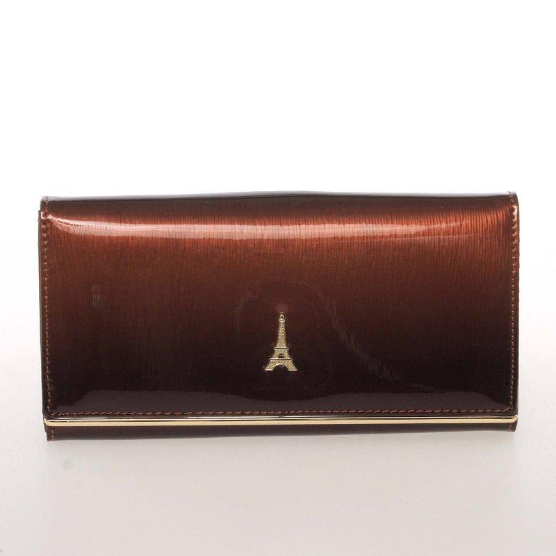 Dámská kožená lakovaná peněženka Paris Lumière, hnědá