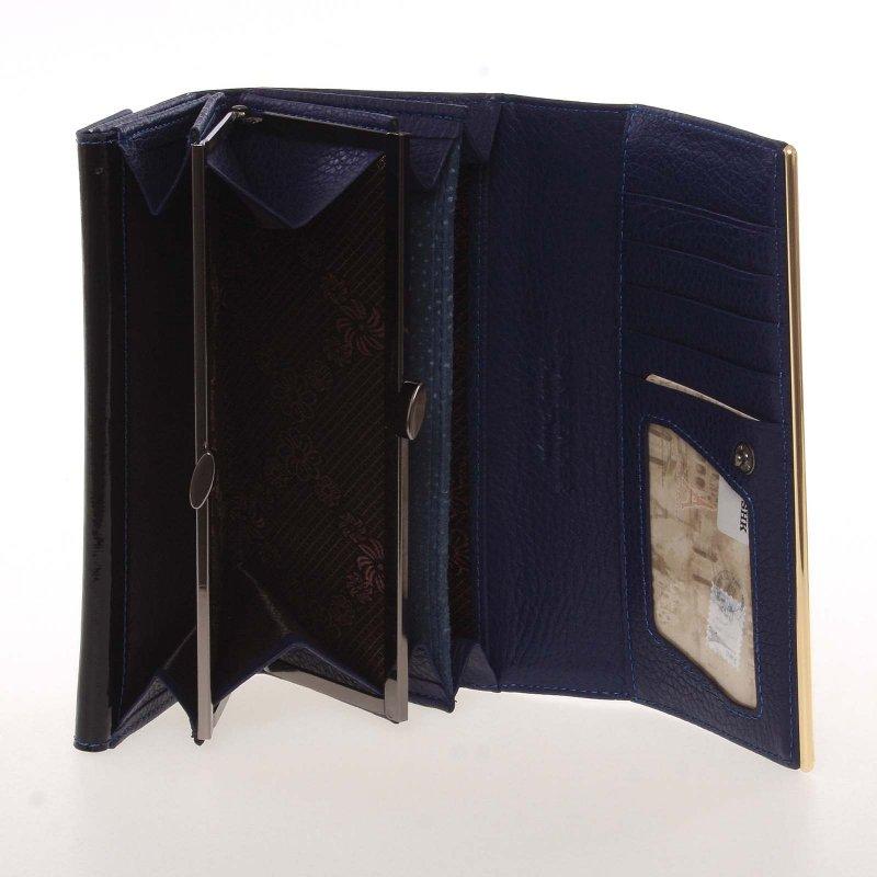 Dámská kožená lakovaná peněženka Paris Lumière, modrá