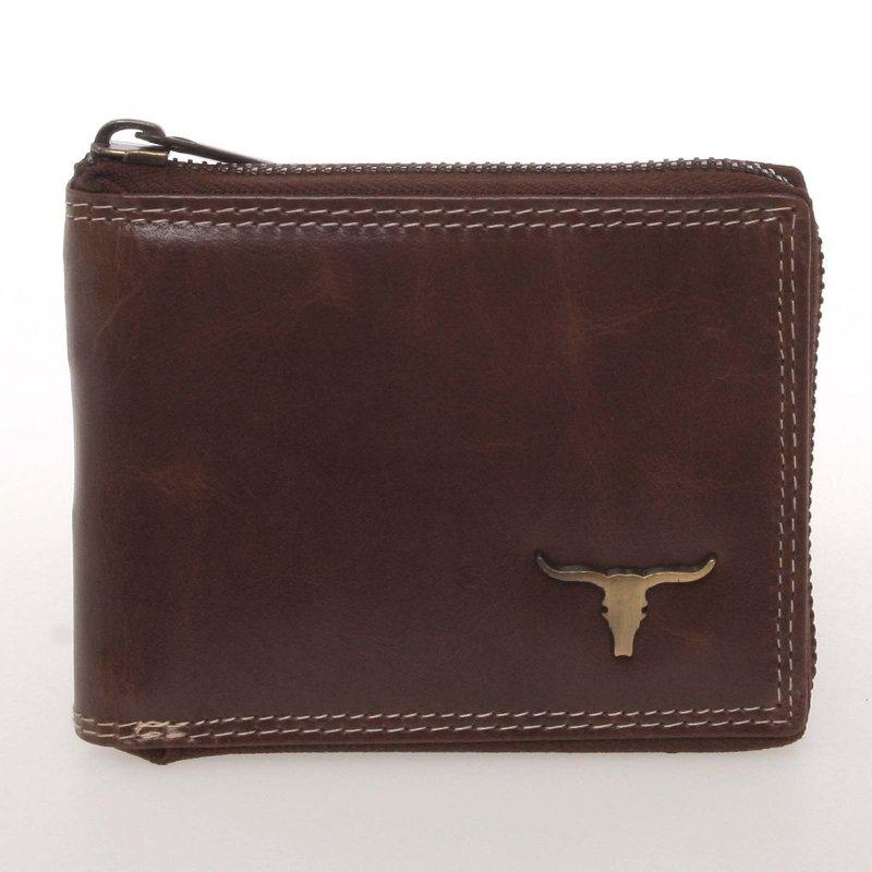 Luxusní pánská kožená peněženka Buffalo, hnědá se zipem