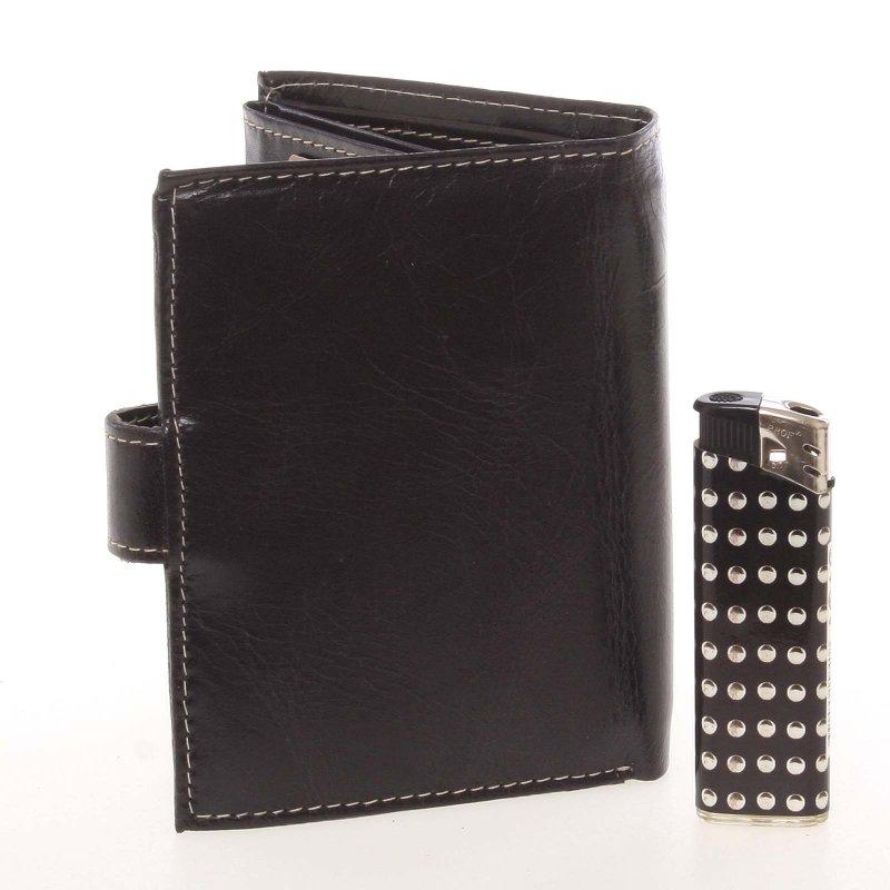Pánská kožená peněženka na výšku Buffalo Desert, černá se zapínáním