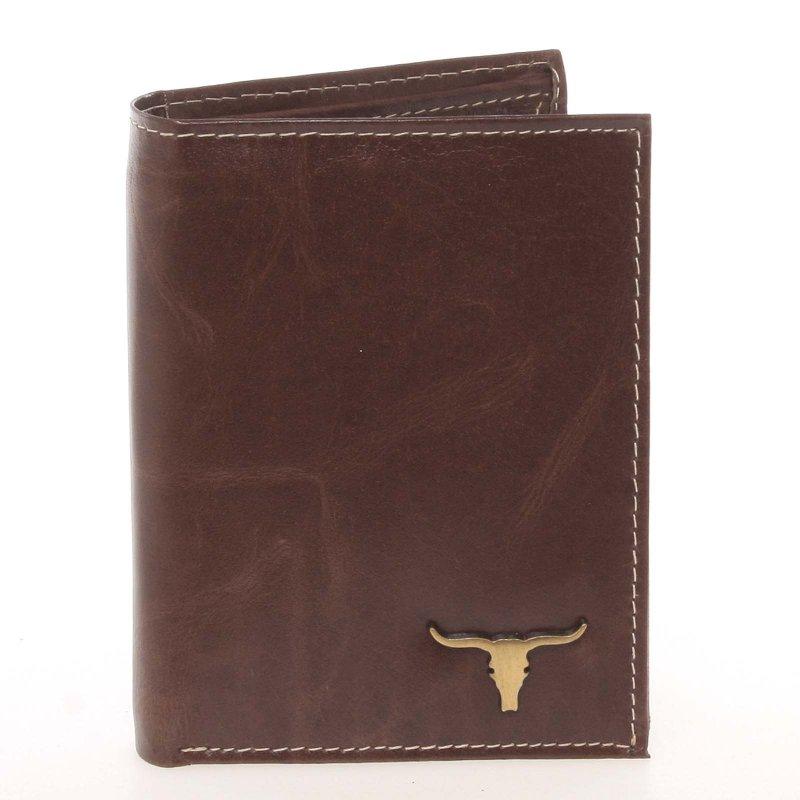 Pánská kožená peněženka na výšku Buffalo Desert, hnědá