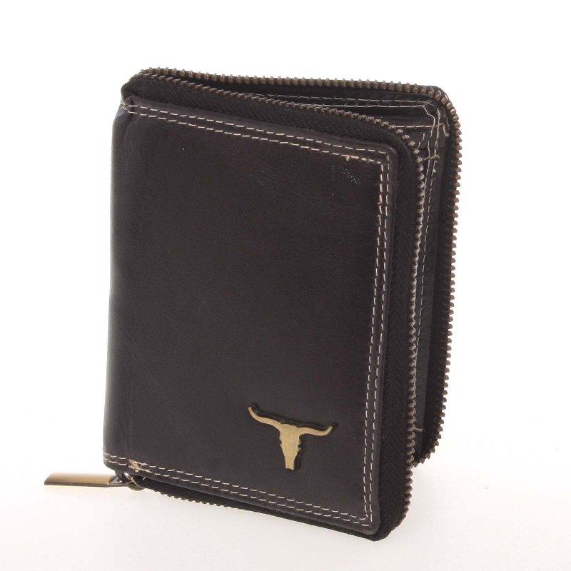 Pánská kožená peněženka na výšku Buffalo Desert, černá se zipem