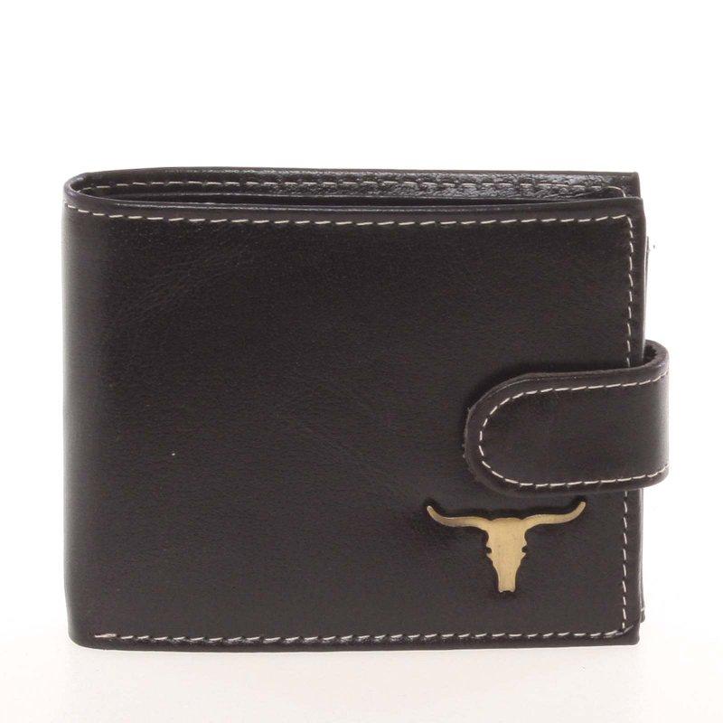 Luxusní pánská kožená peněženka Buffalo Stretch, černá se zapínáním