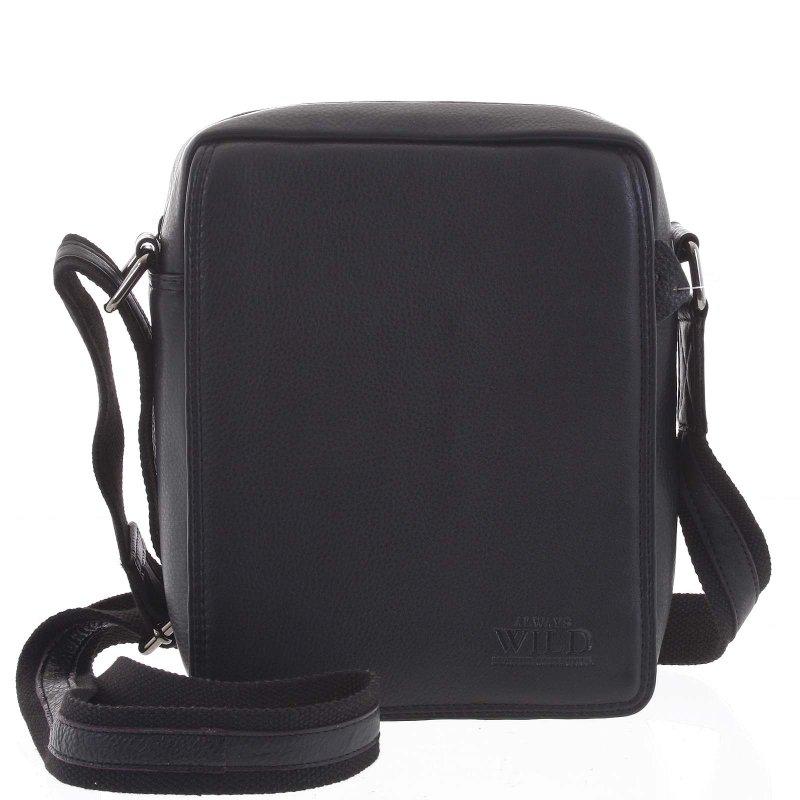 Pánská kožená taška přes rameno Leonardo, černá