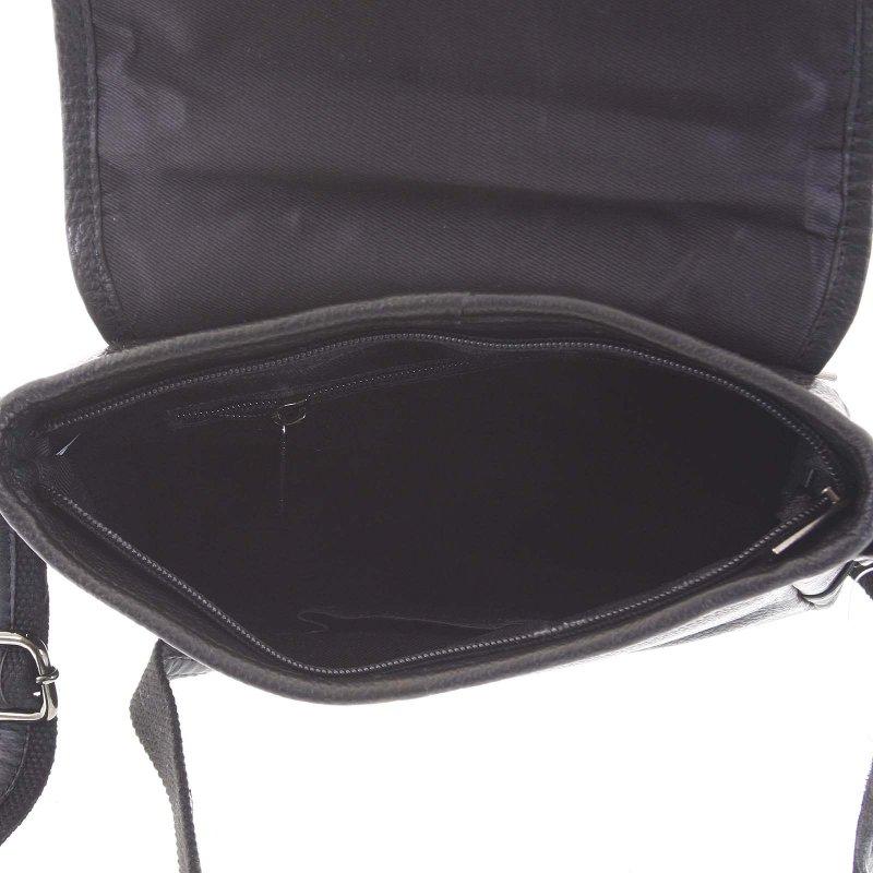Luxusní pánská kožená taška přes rameno Viktor, černá