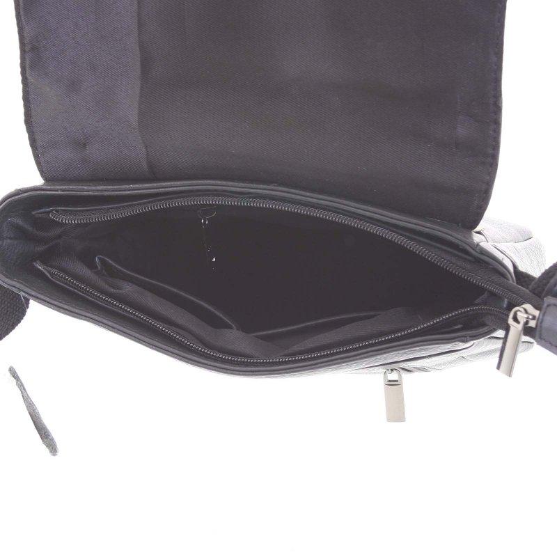 Elegantní pánská kožená taška s klopou Oberyn, černá