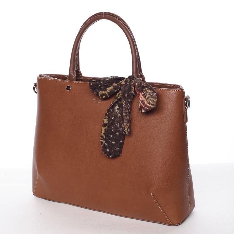 Luxusní zdobená kabelka Jordana, koňaková
