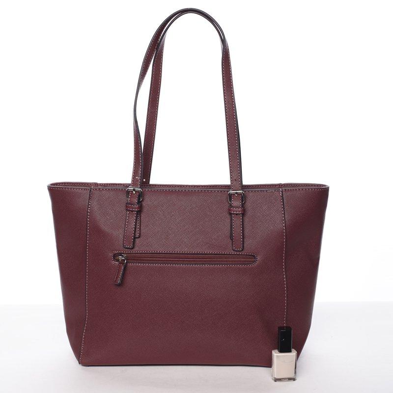 Dámská prošívaná kabelka do ruky Ela, vínově červená