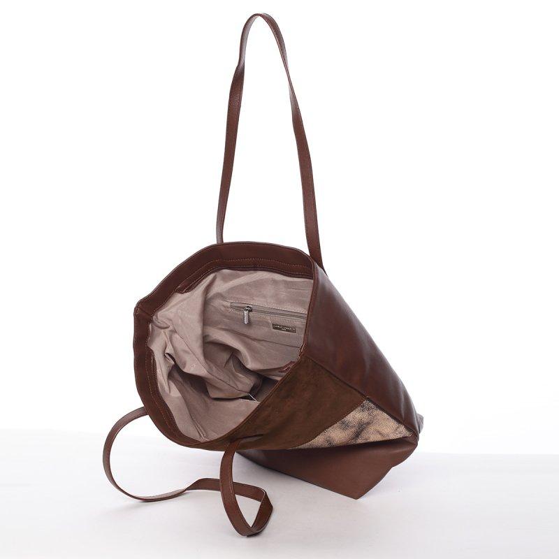 Prošívaná dámská kabelka do ruky Bela, hnědá