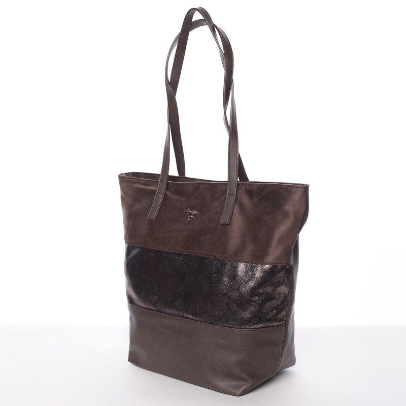 Prošívaná dámská kabelka do ruky Bela, tmavě hnědá