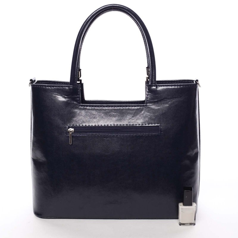 Dámská květovaná kabelka Marisa, modrá -Pravá kůže?