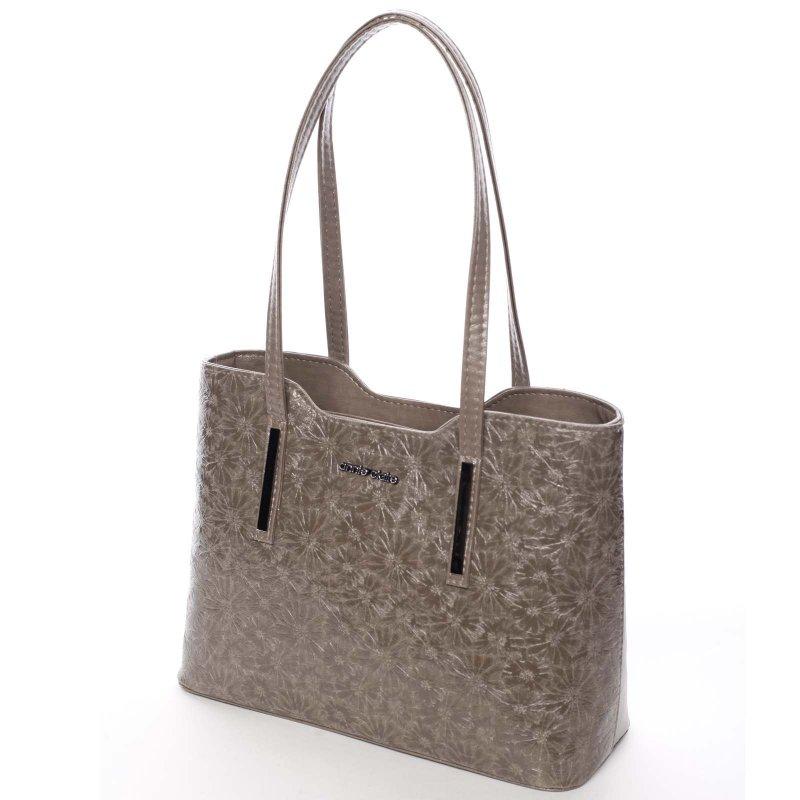 Krásná dámská kabelka Elen, krémová/zelená