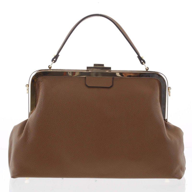Luxusní dámská kožená kabelka do ruky Livia, hnědá