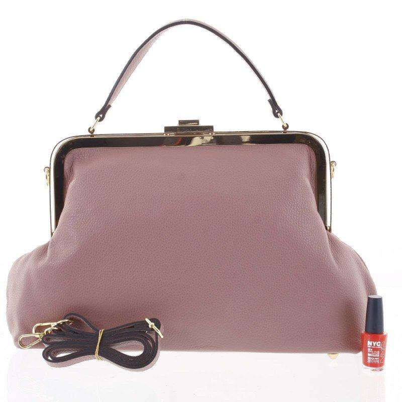 Luxusní dámská kožená kabelka do ruky Livia, růžová