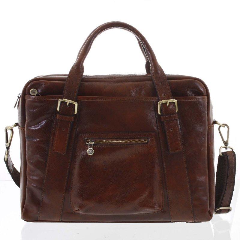 Exkluzivní kožená taška Keith, hnědá