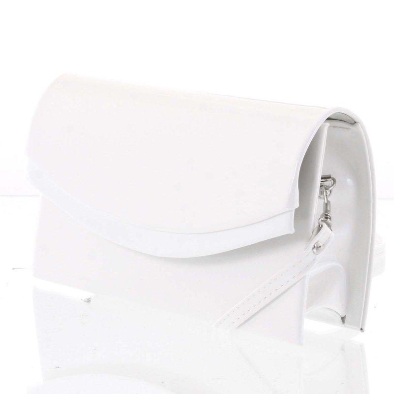 Dámské psaníčko s oválnou klopou CAROLINE, lakované bílé