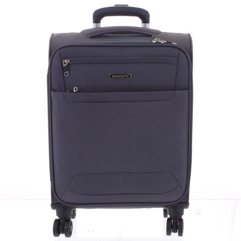 Lehký látkový kufr Menqite šedý vel. I, 4. kolečka