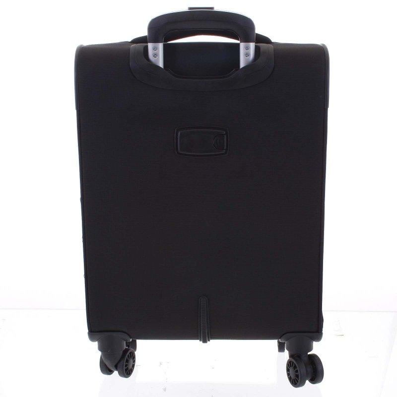 Lehký látkový kufr Menqite černý vel. I, 4. kolečka