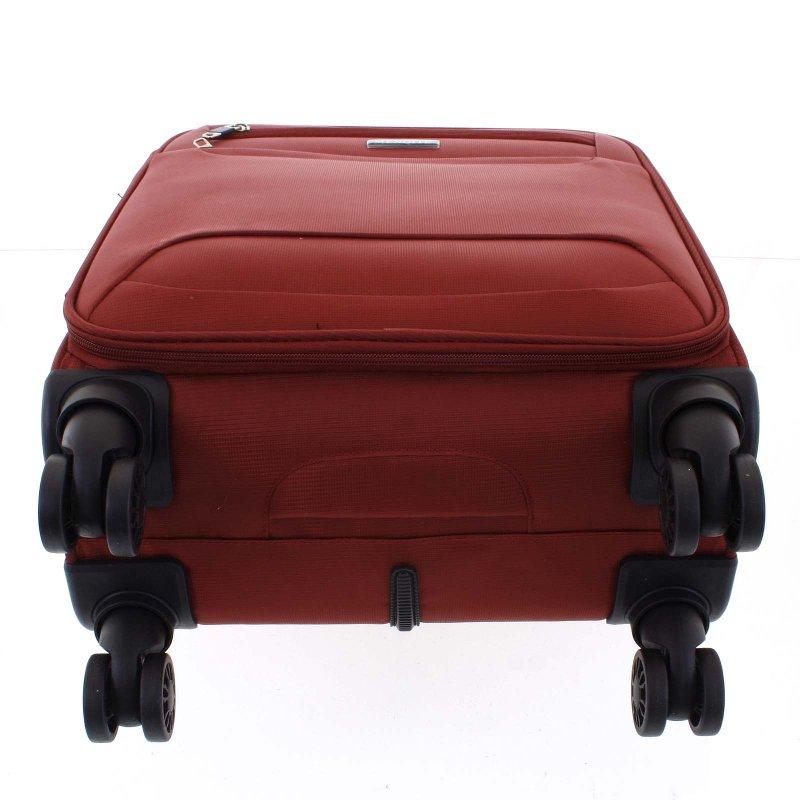 Lehký látkový kufr Menqite červený vel. I, 4. kolečka