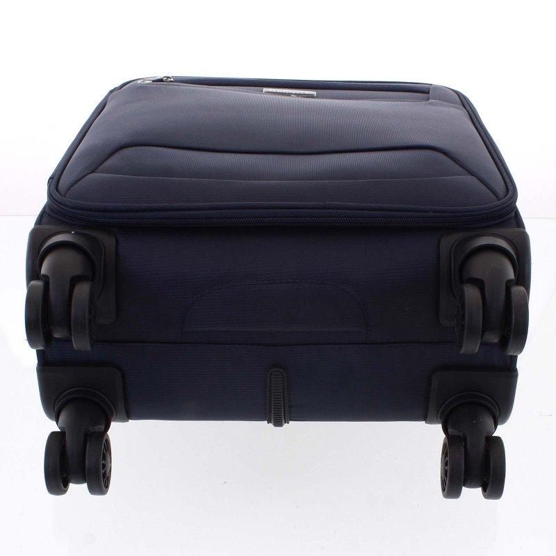 Lehký látkový kufr Menqite modrý vel. I, 4. kolečka