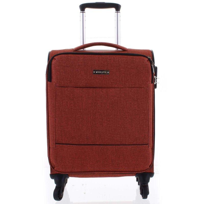 Látkový odlehčený kufr Menqite 4.kolečka, velikost I, cihlově červený