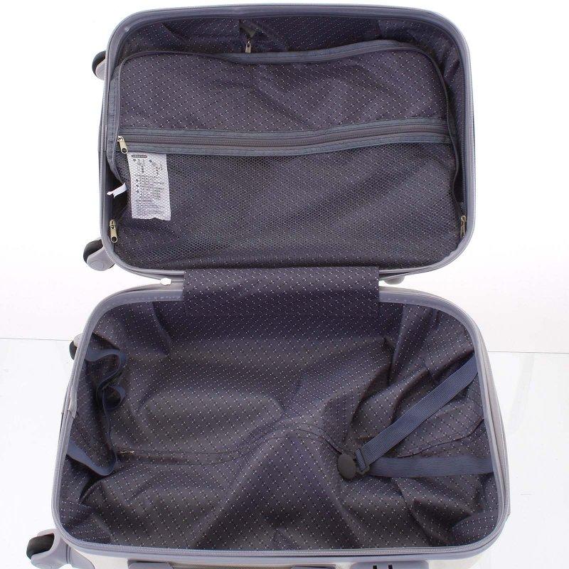 Elegantní kufr skořepinový Agrado vel.I, 4.kolečka, krémový